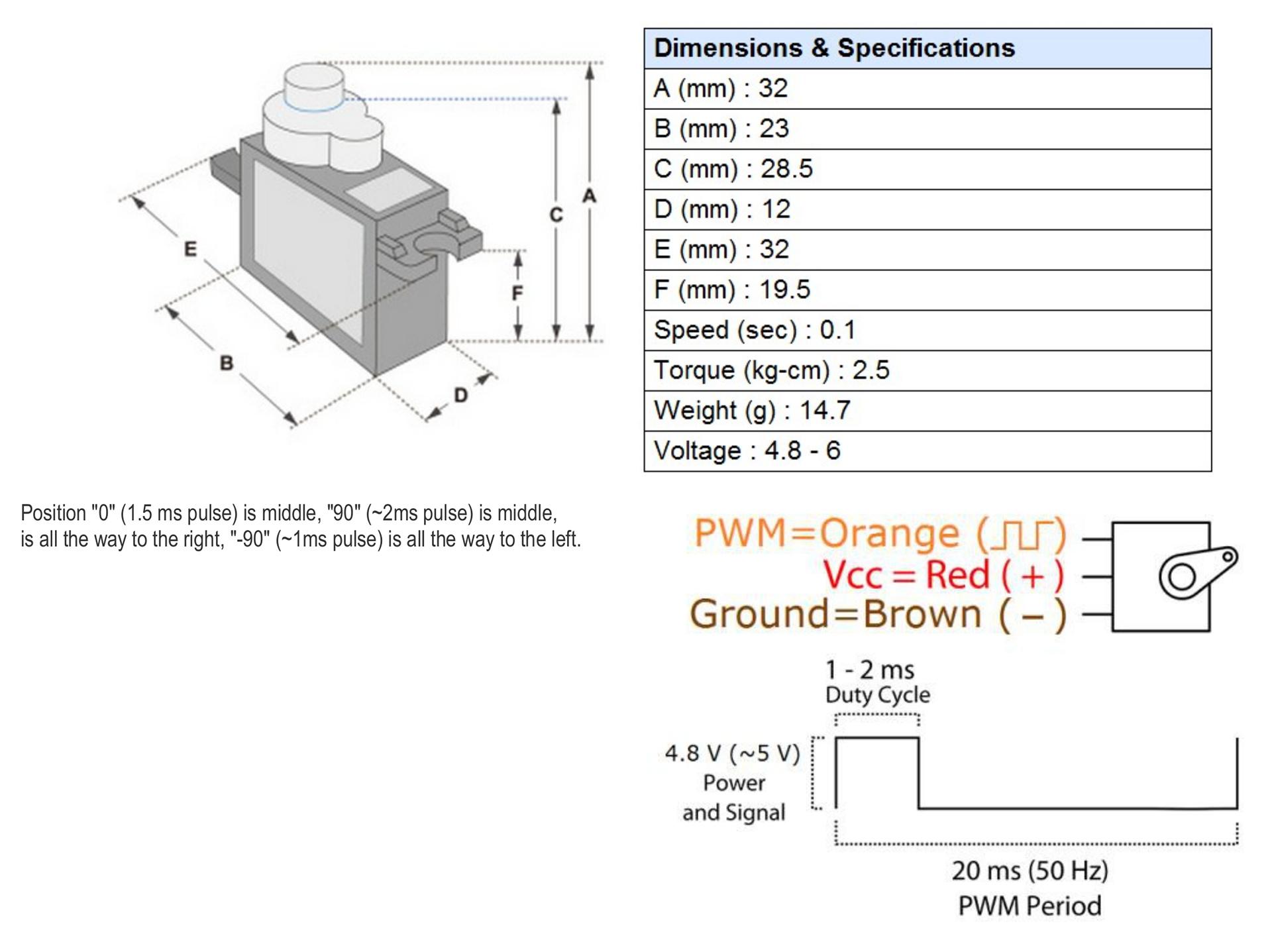 Micro Servo Motor SG90 Data Sheet